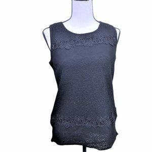 WHBM Black Embroidered Sleeveless Top Size S